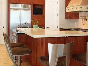 polished limestone countertop
