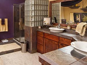 cleaned and sanitized slate bathroom